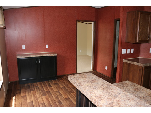 Dining area with bonus cabinet space and serving bar against the wall.