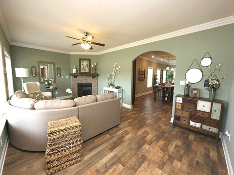 Living room from front entrance - The Buckeye II, 3 Bedrooms, 2 Baths, 3,145 Sq. Ft., modular Palm Harbor home built by Nationwide Homes