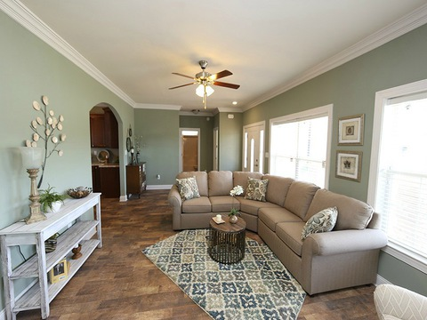 Living room - The Buckeye II, 3 Bedrooms, 2 Baths, 3,145 Sq. Ft., modular Palm Harbor home built by Nationwide Homes