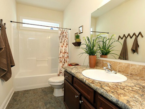 Guest bath - The Buckeye II, 3 Bedrooms, 2 Baths, 3,145 Sq. Ft., modular Palm Harbor home built by Nationwide Homes
