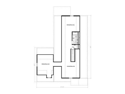 The Buckeye II - UNFINISHED Second Level Floor Plan - Square footage not included