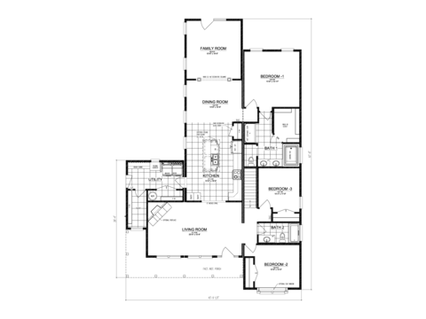 >The Buckeye II - First Level Floor Plan