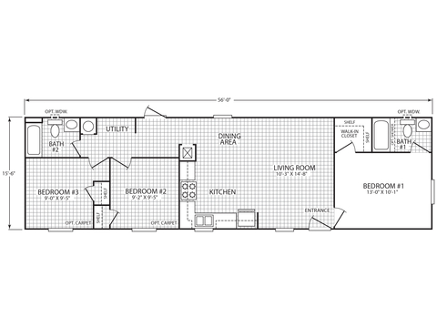 >The Villager 16563A - 3 Bedroom, 2 Bath - 868 sq.ft.