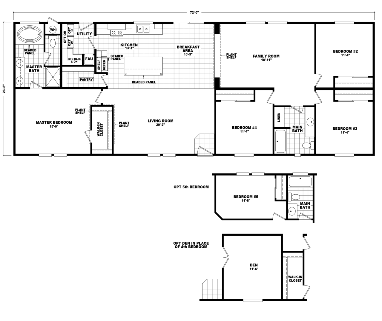 Model hi2872c manufactured home floor plan or modular for Modular homes plans with 2 master suites