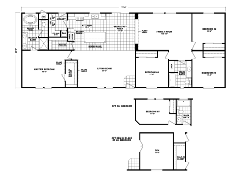 >Standard floor plan with optional 5th bedroom and optional den