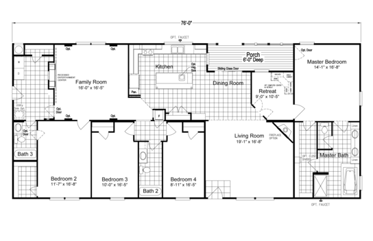 Floor Plan:The Pecan Valley V Extra Wide KHV476B2 Floor Plan