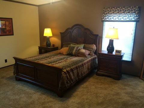 Master bedroom that easily holds a king sized bed and full bedroom furnishings - Pecan Valley V Extra Wide KHV476B2 or ML34764P by Palm Harbor Homes