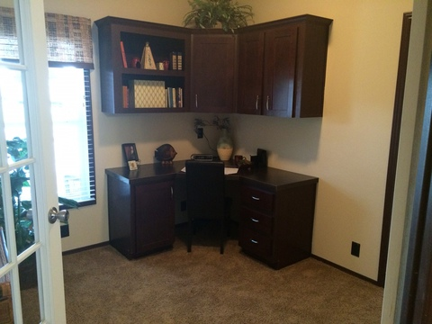 parents retreat/office/study with french doors and built in desk - Pecan Valley V Extra Wide KHV476B2 or ML34764P by Palm Harbor Homes