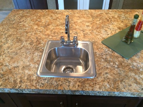 Vegetable sink in island - Pecan Valley V Extra Wide KHV476B2 or ML34764P by Palm Harbor Homes