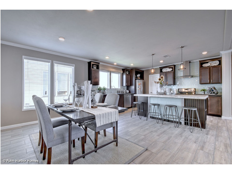 Dining area and open-concept kitchen in the background - The Urban Homestead III FT32764F by Palm Harbor Homes