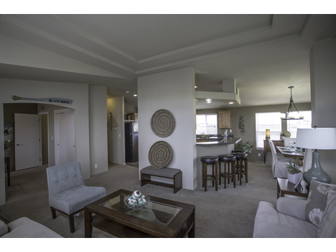Looking at the (optional) office and kitchen from living room - The Sunset Bay by Palm Harbor Homes