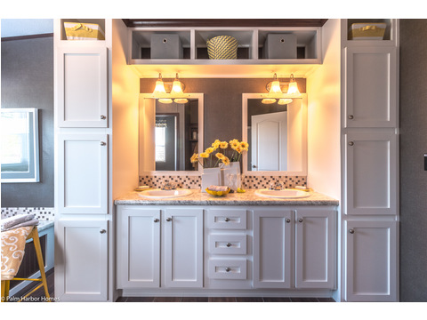 Built-in cabinets around the master bathroom's double vanity - The Arlington ML30523A by Palm Harbor Homes
