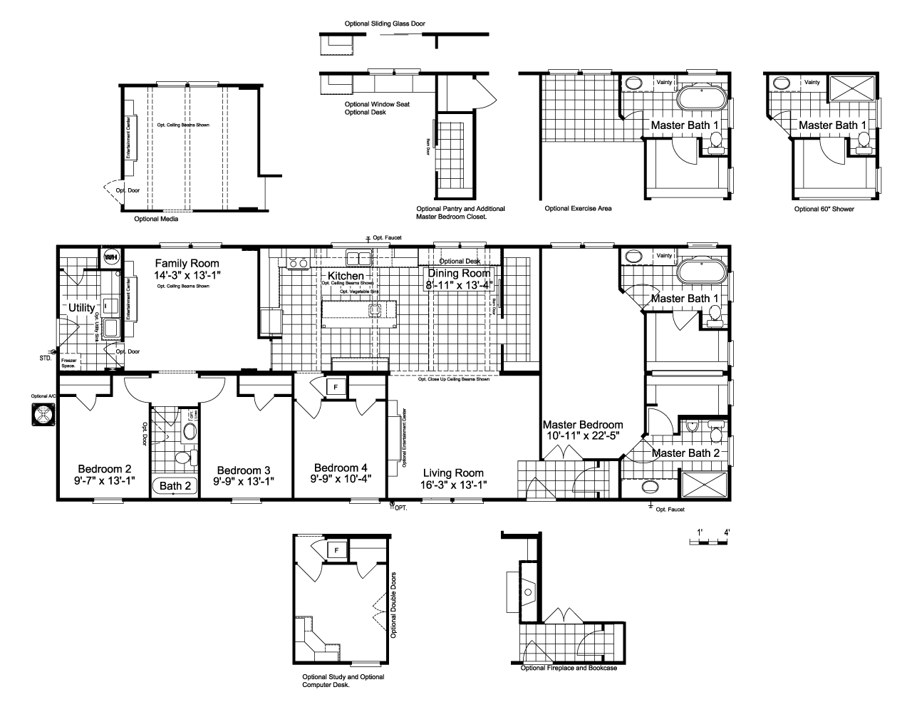 the lucky 7 model ii ml28724l manufactured home floor plan or