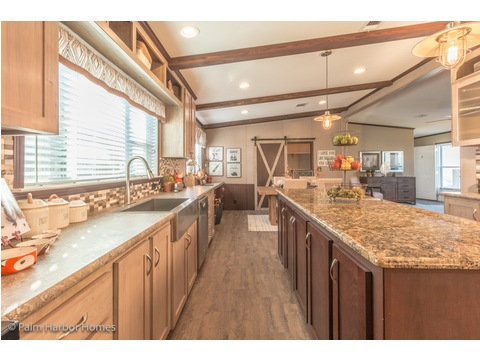 Lots of storage in the kitchen - The Lucky 7 Model II ML28724L manufactured two section home with 4 Bedrooms, 3 Baths, 1,967 Sq. Ft.  This home available only in Louisiana, Mississippi, New Mexico, Oklahoma and Texas.   Exterior Dimensions: 72 x 28