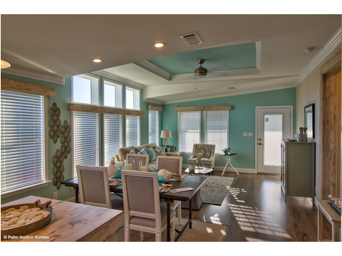 Family room and dining area - The Riviera II, 3 Bedroom, 2 Bath, 2,040 Sq. Ft. manufactured home by Palm Harbor in Plant City