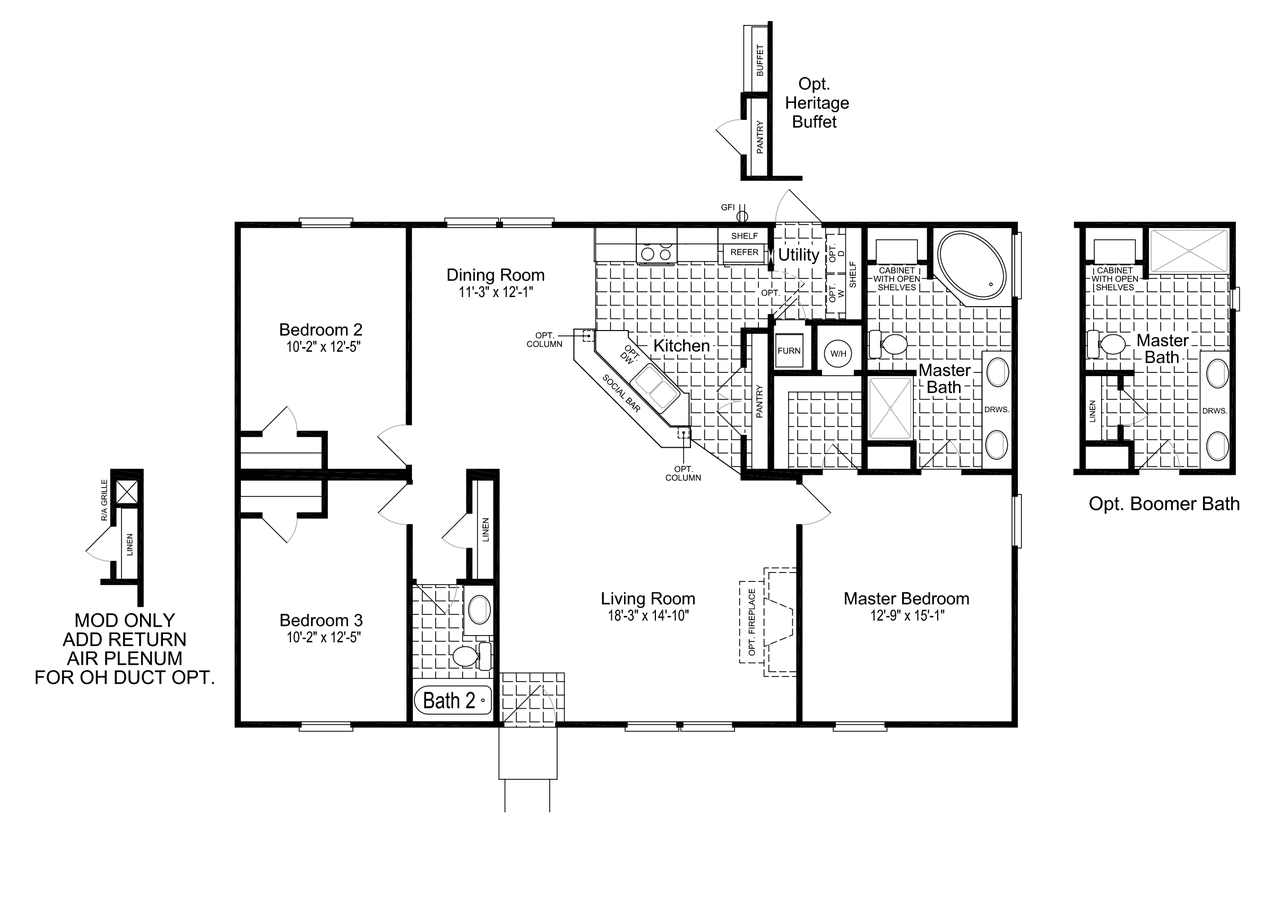 Heritage Homes Floor Plans | The Heritage Home 48 Ft32483a Manufactured Home Floor Plan Or