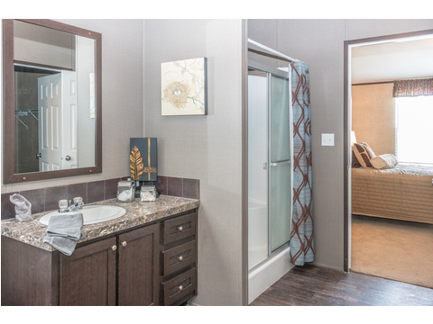 Great master bath with walk-in shower and double vanities option - the Momentum II MMT348B1 by Palm Harbor Homes