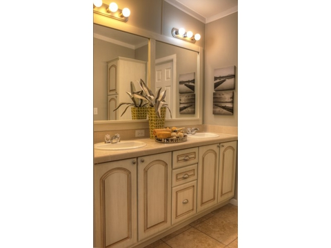 The Ventura's master bath cabinetry specialty!  Available as a manufactured home or a modular home - come take our factory tour at Palm Harbor Homes in Plant City, Florida.
