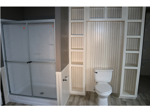 There is also a walk-in shower in the master! Look at all the nice built in shelving!!