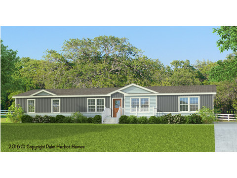 The Ponderosa: Optional Ridgeline Exterior Elevation, artist's rendering - including a 3rd dormer application, lap siding wainscot, exterior accent and dormer accent, deluxe exterior coach light, opt. woodgrain front door and opt. gridded windows