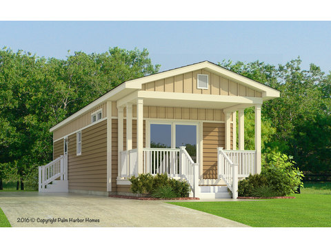 The Sunset II Cottage Model FF16522A shown with the Optional Palmetto Exterior - Artist's Rendering - By Palm Harbor Homes