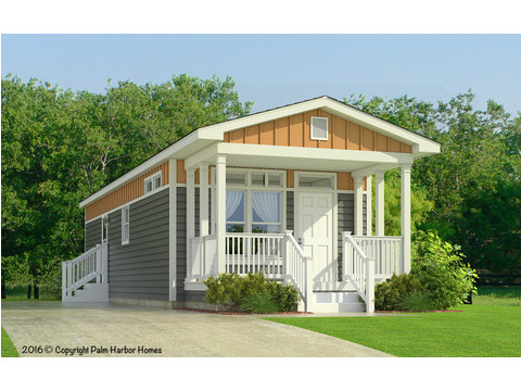 The Sunset II Cottage Model FF16522A - Artist's Rendering: The Optional Palmetto Exterior w/opt Front Door & Transom Windows