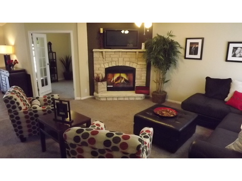 Living room with fireplace - The Pecan Valley III - Extra Wide KHV368H1 by Palm Harbor Homes