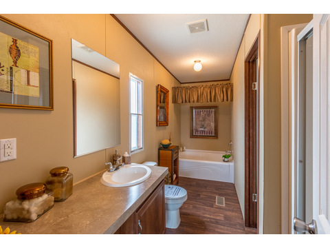 Handy master bath has everything you need! The Velocity Model VE32483V manufactured home - 3 Bedrooms, 2 Baths, 1,440 square feet - available from Palm Harbor Homes.  www.palmharbor.com