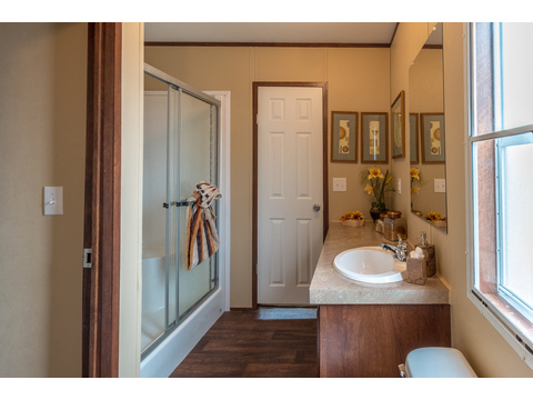 Large walk-in shower - The Velocity Model VE32483V manufactured home - 3 Bedrooms, 2 Baths, 1,440 square feet - available from Palm Harbor Homes.  www.palmharbor.com