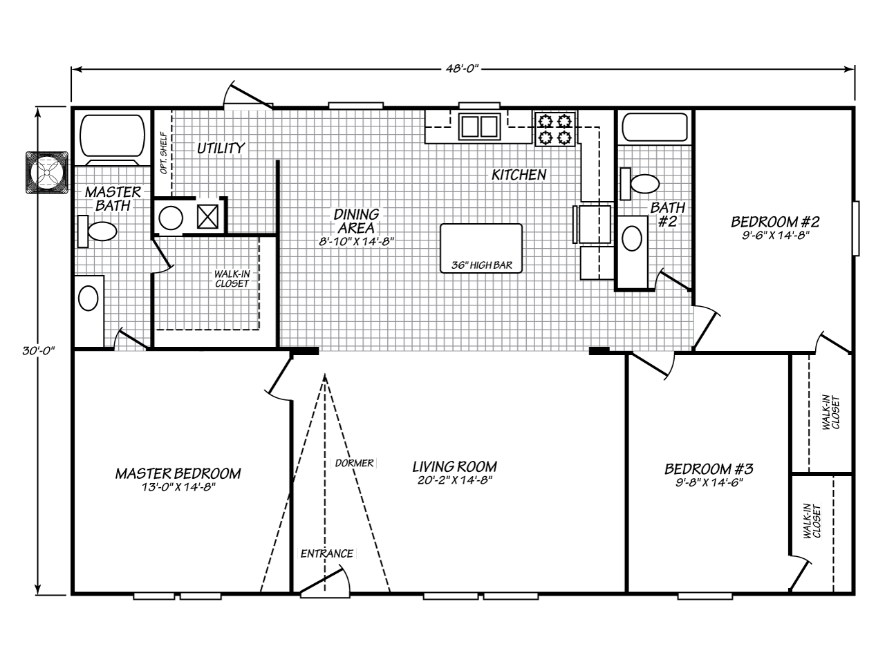 View velocity model ve32483v floor plan for a 1440 sq ft for Texas home builders floor plans