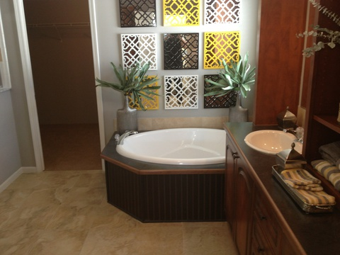 Large master bathroom with soaking tub and separate shower - Casita III by Palm Harbor Homes