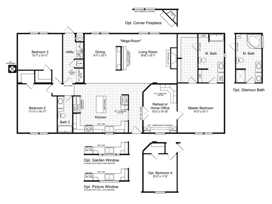 Floor Plan:The Momentum IV MM32643A Floor Plan - Palm Harbor Homes