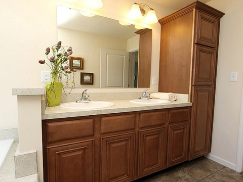 The vanity in the master bath features a double sink arrangement in The Noble - A modular Palm Harbor home by Nationwide Homes - 1,464 sf, 3 Bedrooms, 2 Bathrooms, 1 Living Areas, 1 Dining Area.  Exterior Dimensions: 26.2'x56'