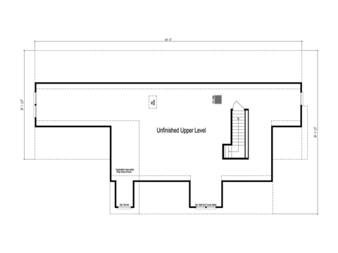 The Maiden II -  UNFINISHED Second Level Floor Plan - Square footage not included
