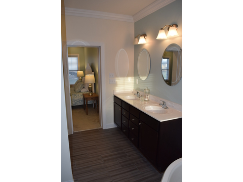 The Master bathroom into master bedroom in The Maiden II - a modular home built by Nationwide Custom Homes in their Palm Harbor Home lineup for the Mid - Atlantic states. 3 Bedrooms, 2.5 Baths, 1,999 Sq. Ft.