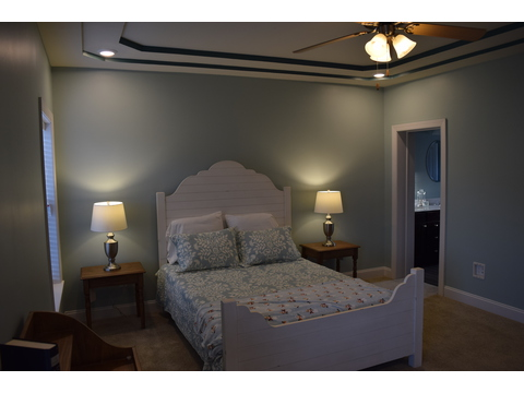 The Master bedroom in The Maiden II - a modular home built by Nationwide Custom Homes in their Palm Harbor Home lineup for the Mid - Atlantic states. 3 Bedrooms, 2.5 Baths, 1,999 Sq. Ft.