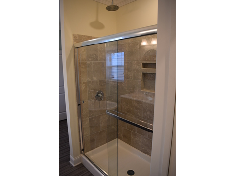 Beautiful big walk-in shower in The Maiden II - a modular home built by Nationwide Custom Homes in their Palm Harbor Home lineup for the Mid - Atlantic states. 3 Bedrooms, 2.5 Baths, 1,999 Sq. Ft. - unfinished area upstairs