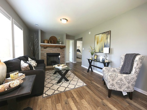 The family room in the Drake model - a 4 Bedroom, 2 Bath, 1,882 Sq. Ft. modular Palm Harbor home built by Nationwide Homes