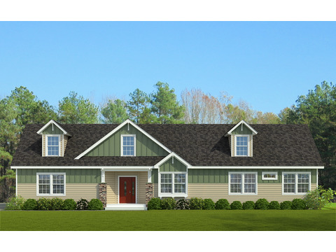 The Stanley II optional exterior with 9/12 roof pitch - artist's rendering