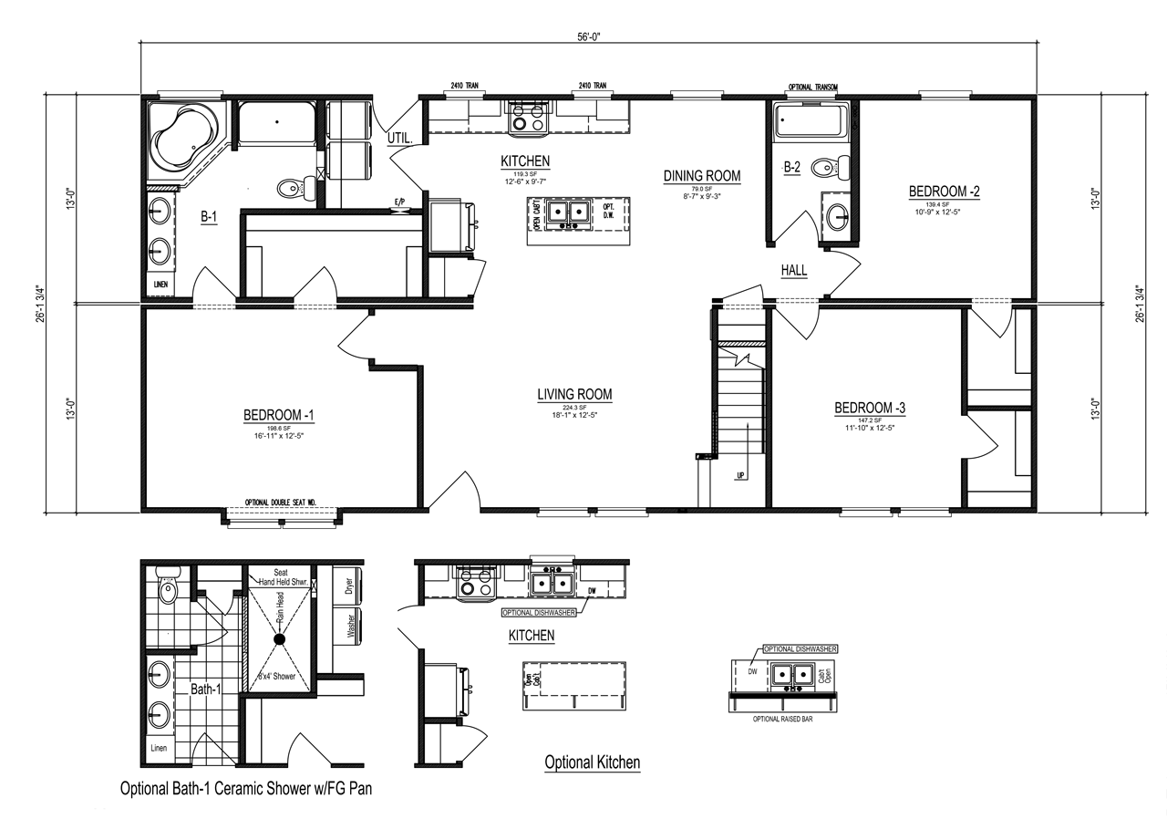 The noble cape manufactured home floor plan or modular for Cape plans