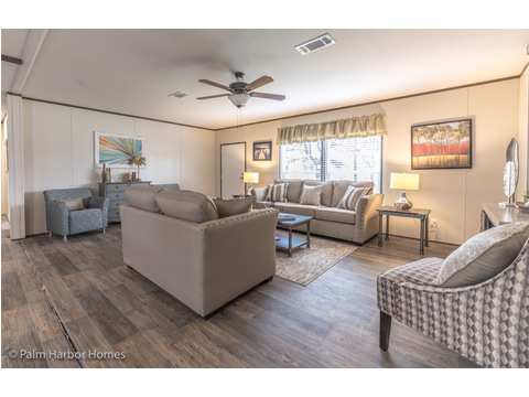 Large Living Room allows for sitting area and a desk.  Velocity by Palm Harbor Homes - 4 Bedrooms, 2 Baths, 1860 Sq. Ft.