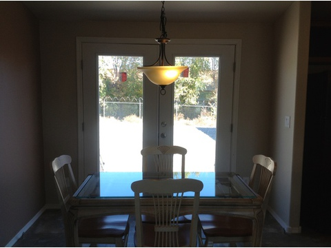Big spacious dining area with lots of natural light. Eat lunch and watch the kids play out back :) - The American Dream I HI2856A, Palm Harbor Homes