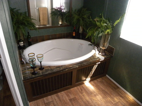 Huge garden tub completes this master bathroom