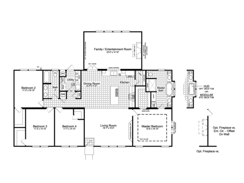 >The Urban Homestead II Flex FT47644A floor plan with Family / Entertainment Room Option, 2,351 Sq. Ft.