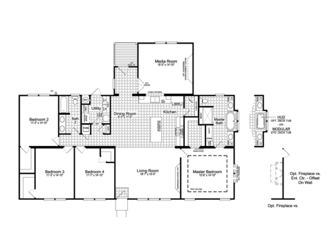 The Urban Homestead II Flex FT47644A floor plan with Media Room Option, 2,302 Sq. Ft. with covered back porch