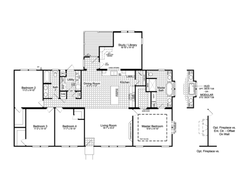 The Urban Homestead II Flex FT47644A floor plan with Study / Library Option, 2,254 Sq. Ft. with wrapped covered back porch