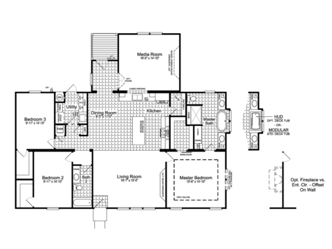 The Urban Homestead Flex FT47563A floor plan with Media Room Option, 2,054 Sq. Ft. with covered back porch