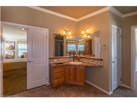Separate his and her vanity space - The Bonanza Flex by Palm Harbor Homes