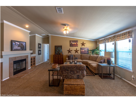 Living room, seen from formal dining room - The Bonanza Flex by Palm Harbor Homes