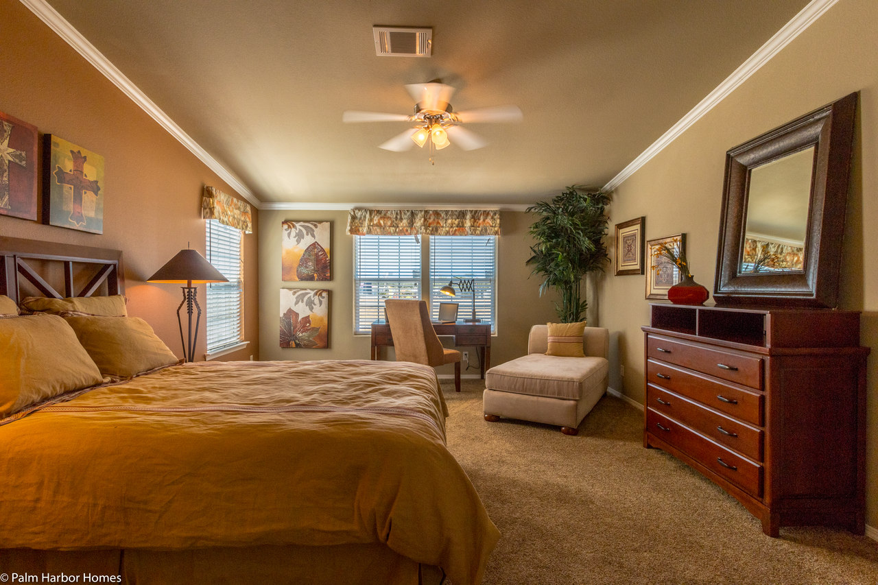 View the bonanza flex floor plan for a 2302 sq ft palm for Model home master bedrooms